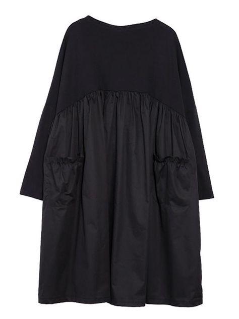 92ebab4e86 Loose Black Split-joint Long Sleeves Dress – moongor