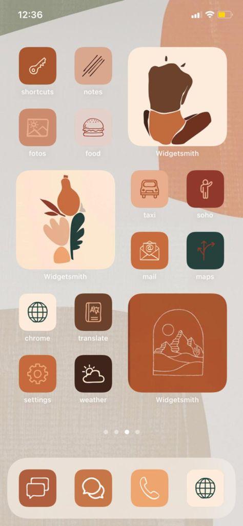 iOS 14 Icons Bundle Natural iOS14 Update Business App Shortcuts Modern Aesthetic Home Screen Customization Boho Autumn Icon Widgetsmith