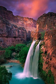 Havasu Falls Grand Canyon #USA It is the more famous and most visited of the various falls along Havasu Creek.