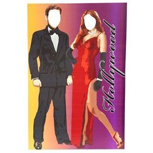 """Hey you two! Smile for the camera! ~ This 6'1"""" high x 4' wide x 2' deep Strike a Pose Photo Prop Kit features your face on the bodies of a glamorous Hollywood couple."""