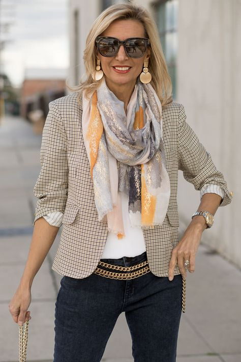 New blog story today featuring our classic London Houndstooth Blazer styled with a beautiful White Blouse, Scarf and Earrings. All four pieces available in our shop www.jacketsociety.com