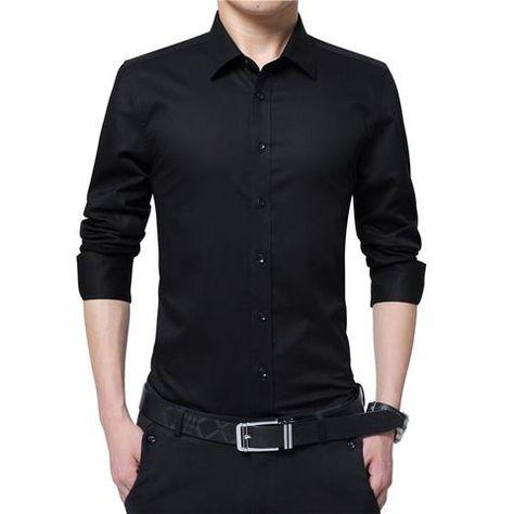 Men Dress Shirt Fashion Long Sleeve Business Social Shirt