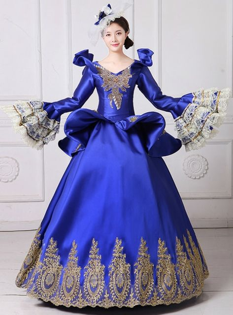 40b42aee02cf Blue Ball Gown Satin Long Sleeve Appliques Drama Show Vintage Gown Dress