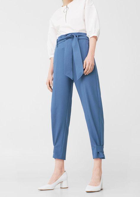 Bow belt trousers -  Woman   MANGO Greece