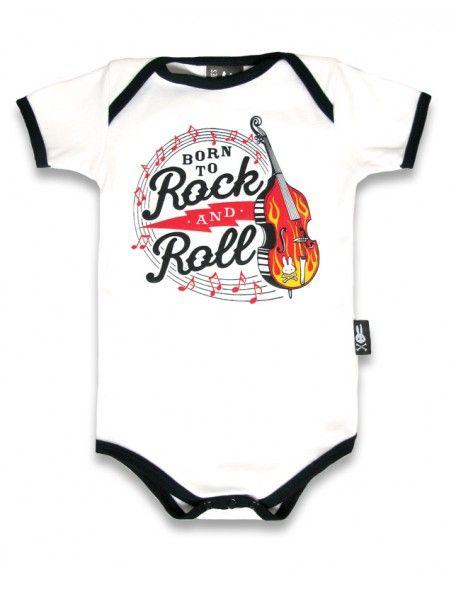 Six Bunnies Born to Ride Rockabilly Baby Body Strampler