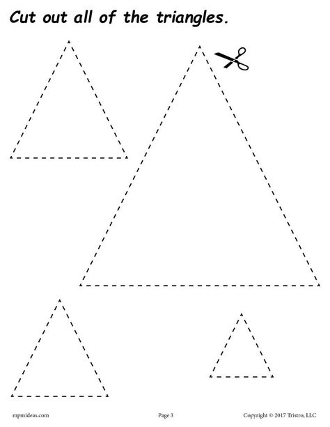 These shapes cutting worksheets for preschool and kindergarten are fun and easy to print and use! Even though these shapes worksheets were primarily created for cutting practice, they can also be used as shapes coloring pages and tracing worksheets.
