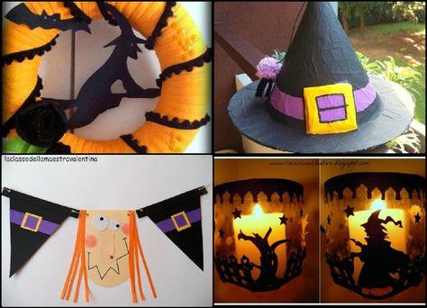 halloween home decor, maestra valentina, bandiera, ghirlanda, festone Halloween, cappello strega, porta candela ricicloso, riciclo creativo