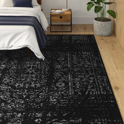 Lark Manor Bridport Black Area Rug Rug Size Rectangle 8 2 X 11 6 Black Area Rugs Black Rug Bedroom Black And White Living Room