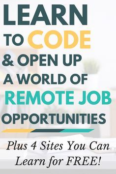 Learn to code, and open up a world of remote job opportunities! If you've been looking for an out-of-the-cube career, coding may very well be your ticket to work freedom. And the best part? You can learn to code for free! Earn Money From Home, Way To Make Money, How To Make, Earn Money Online, Online Income, Work From Home Opportunities, Work From Home Jobs, Online Jobs From Home, Kids Online