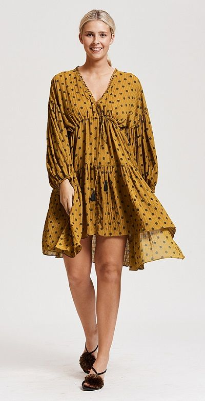 Yellow Bohemian Dresses In Boho Inspired