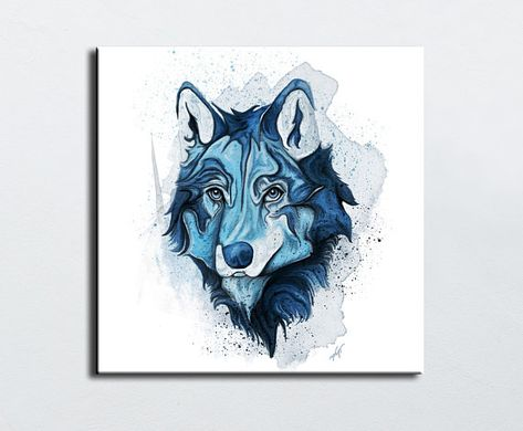 Blue Wolf On A White Background Portrait Painting Colorful