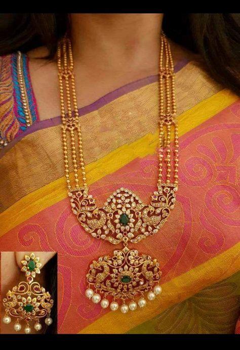 Traditional Indian Golden Necklace & Earrings Jewelry Set For Women Wedding/Festive Wear Beautiful Designer Choker Necklace Jewelry Set-