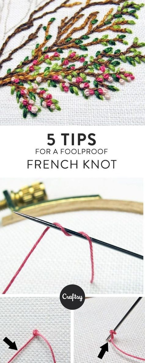 The French knot can be your best friend or your worst enemy. If you have trouble… The French knot can be your best friend or your worst enemy. If you have trouble, learn how to make a French know with this FREE tutorial + 5 helpful tips! French Knot Embroidery, Embroidery Stitches Tutorial, Simple Embroidery, Hand Embroidery Patterns, Embroidery Techniques, Machine Embroidery, Embroidery Designs, Embroidery Ideas, Knitting Stitches