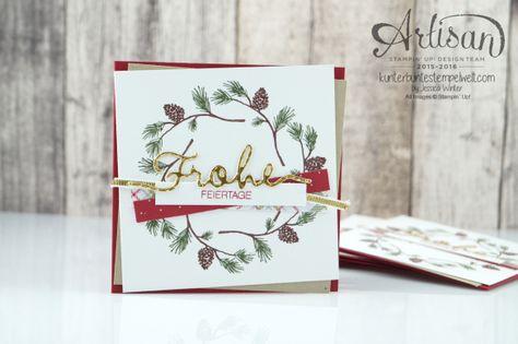 Stampin´ Up! - Wonderland - Designerpapier im Block Fröhliche Feiertage - Chili - Savanne - Thinlitsformen Weihnachtliche Worte - 1