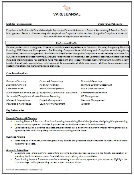 Good CV Resume Sample for Experienced Chartered Accountant ...