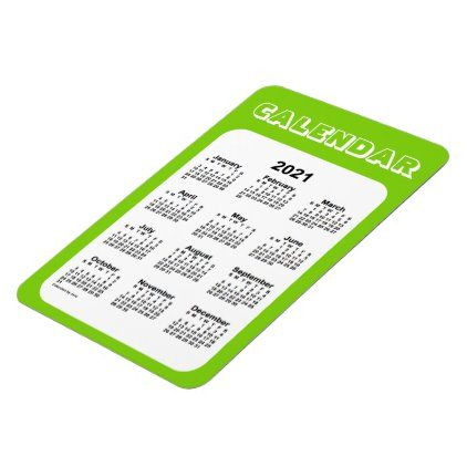 2021 Yellow Green Calendar By Janz 4x6 Magnet Zazzle Com Green Calendar Calendar 2021 Calendar