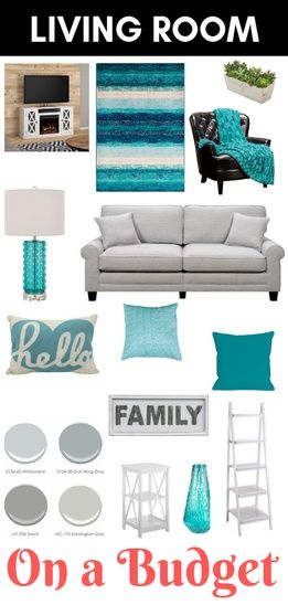 Living Room On A Budget Teal White And Grey Decor Cozy Tv Stand With Fireplace Grey Couch Living Room Decor Gray Teal Living Rooms Teal Living Room Decor