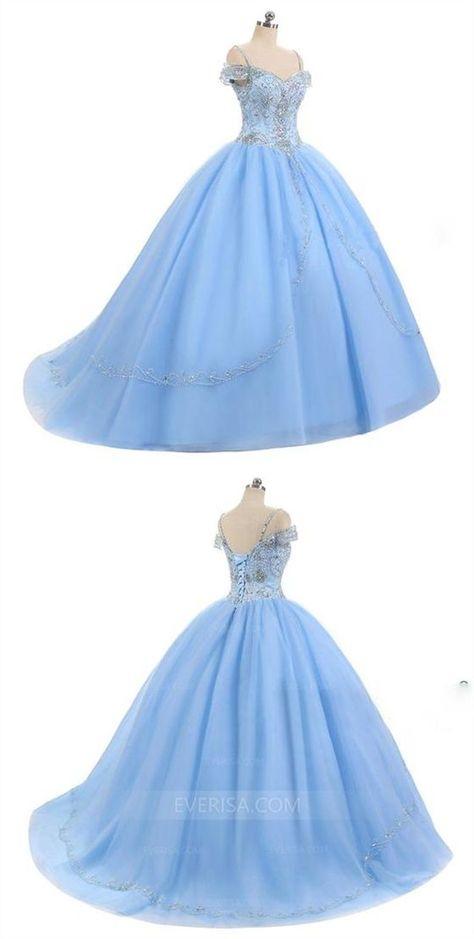 Sky Blue Off Shoulder Beaded Prom Dresses,A Line Quinceanera Dresses