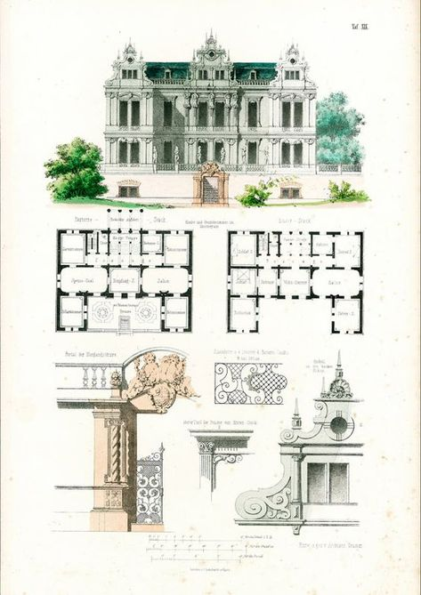 Design for a Gothic Revival country house Drawing ville - dessiner plan de maison
