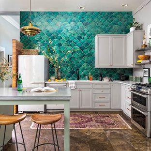 Teal Tile Backsplash Kitchen Ideas Photos Houzz In 2020 Kitchen Design Trends Modern Kitchen Design Kitchen Tiles Backsplash