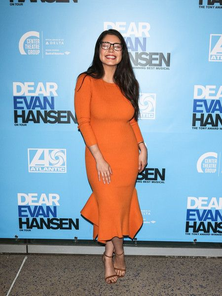 Auli'l Cravalho is seen arriving to the Los Angeles opening night performance of 'Dear Evan Hansen' at Ahmanson Theatre.