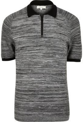 River Island Mens Grey textured zip-up polo shirt
