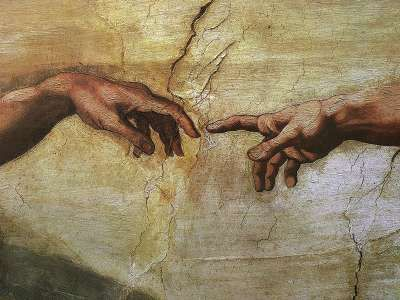 Michelangelo. I think this is symbolic that God has his finger stretched out, yet Adam has his limp which symbolizes that if we want God, all we have to do is reach out to him.
