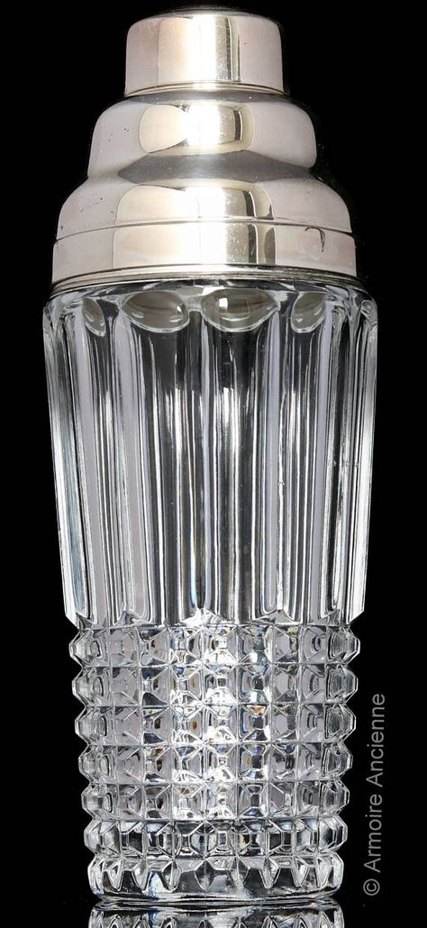 Wintage Silver Cocktail Shaker Wine Decanter Cut Crystal Glass Chrome Martini Shaker Bar Tools