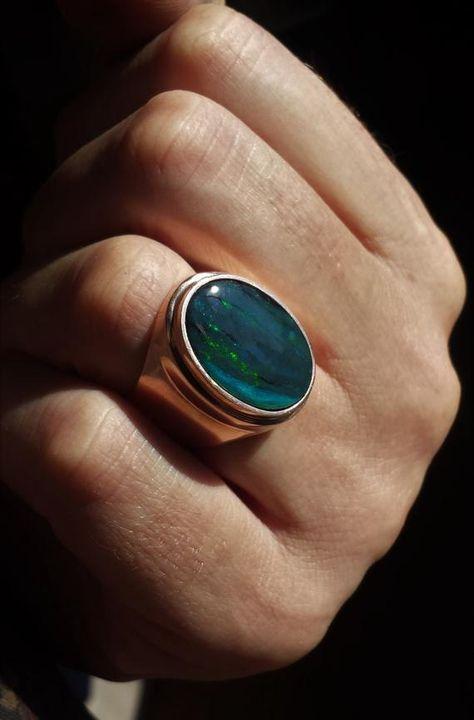 Black Australian Opal Mens Ring 14k solid  gold image 2