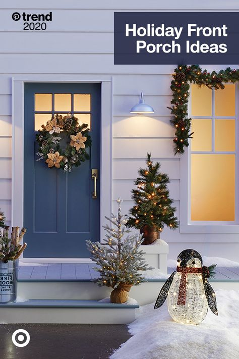 Decorate your front porch with Christmas decor ideas, front door wreaths  yard decorations to bring home the holiday cheer.