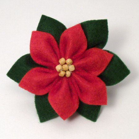 Felt Poinsettia Tutorial:  hair tie, pin or ornament. Made some but not this technique. Will have to do. This takes less materials then the other way I was doing a poinsettia. I had to make it much smaller also so it could be used in the hair if desired. Will make them next Christmas season. They are cute ~ !