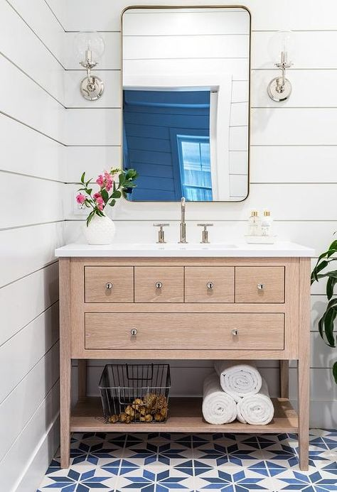 Light Oak Sink Vanity with Curved Brass Mirror - Transitional - Bathroom