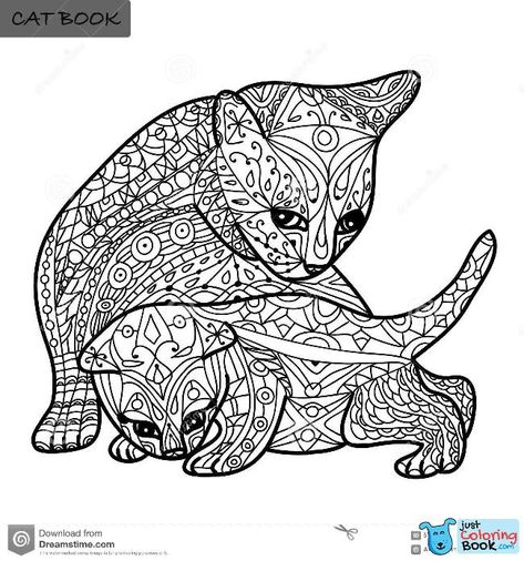 Cat Mother And Kitten Coloring Pages Cat Coloring Book Kitten