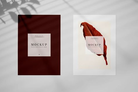 Invitation Card Mockup With A Leaf Psd File Free Download