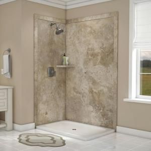 Flexstone Elegance 36 In X 48 In X 80 In 7 Piece Easy Up Adhesive Corner Shower Wall Surround In Mocha Travertine Ssk48367821mt Corner Shower Kits Shower Surround Small Bathroom