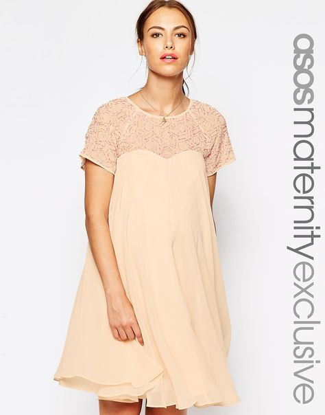 fa85695fa9b ASOS Maternity Swing Dress With Embellished Top