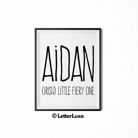 Aidan Name Meaning Art - Printable Baby Shower Gift - Nursery Printable Art - Di...#aidan #art #baby #gift #meaning #nursery #printable #shower
