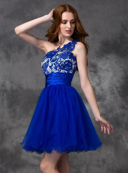 Royal Blue Sweet 16 Dresses Graduation,One Shoulder Homecoming Dress ...