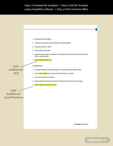 Free Hospital Unit Clerk Job Ad And Description Template Word Doc Google Docs Job Ads Job Description Template Cover Letter Template