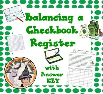 Balancing A Checkbook Register Worksheet Answer Key Financial Literacy Financial Literacy Lessons Personal Financial Literacy