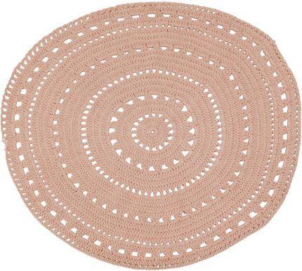 Tapis Rond Couleur Rose Poudre En Crochet Diametre 120 Cm Umaa Tapis Rond Idee De Decoration Decoration