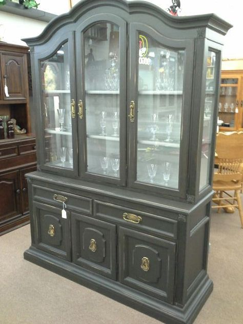 SOLD   This Is A Large China Cabinet With, Triple Glass Doors, Two Drawers  And Three Door For Storage In The Base. Painted And Lightly Distressed.