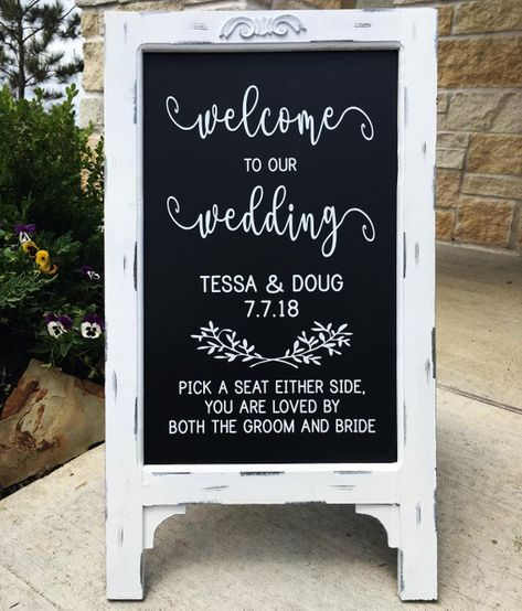 Welcome To Our Wedding, Chalkboard, Sign, Decal, Wooden Sign, Rustic, Wedding Decor, Personalized We