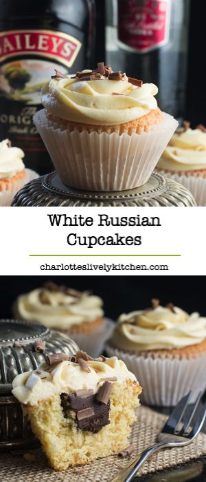 White Russian Cupcakes inspired by the classic cocktail - Baileys whipped cream sponge, topped with a White Russian buttercream and a hidden dark chocolate and vodka ganache centre.