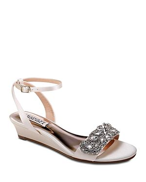 8fb57af041f Badgley Mischka Women's Hatch Embellished Satin Demi Wedge Sandals ...