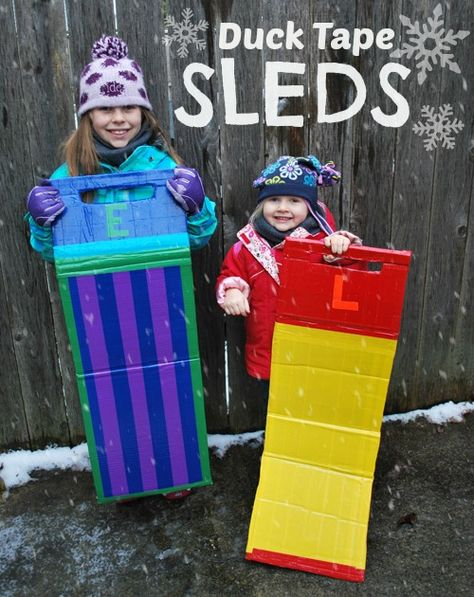 """Is it a snow day & the kids are home from school, complaining about being """"bored""""?  How does making Duck Tape sleds, and then sending them outside sound to you?"""