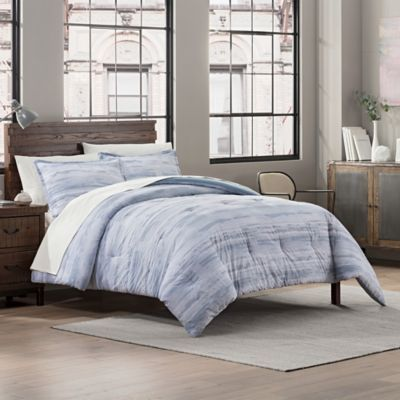 Garment Washed Striped Printed Reversible Twin Twin Xl Comforter