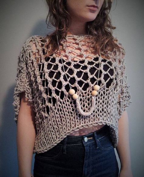 ***This is a knitting pattern, not the finished item.***  This crop top is so light, airy and soft, and it can be worn in many different ways! Dress it up or dress it down. Perfectly rustic-chic for a night out on the town, for the beach as a cover-up or at that music festival on a hot Summer day. You can wear this with a tank top, bikini top or cute bralette underneath. So bohemian chic! This pattern is easy to follow. Knowledge of the knit/purl stitch, casting on and off in knitting is...