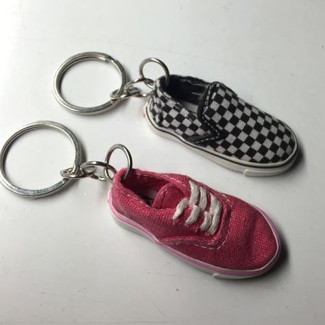 8f8942700866 vans mini shoe keychains vans key chains. both new without tags. one pink  authentic and one checkerboard slipon. ardorable