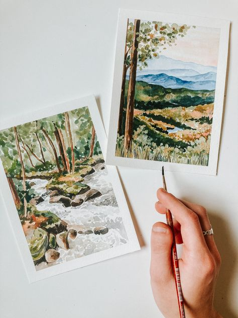 Prints available on my site! #blueridgemountains #smokymountains #landscapes #watercolor #watercolorarts #artist